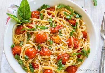Pasta with Roasted Garlic and Burst Cherry Tomato Sauce