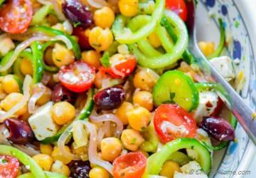 Mediterranean Chickpea Cucumber Salad with Shallot Dressing