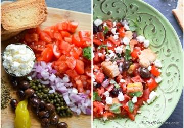 Greek Dakos - Bread and Tomatoes Salad