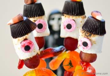 Creepy Stick-Men Marshmallow Candy Kabobs