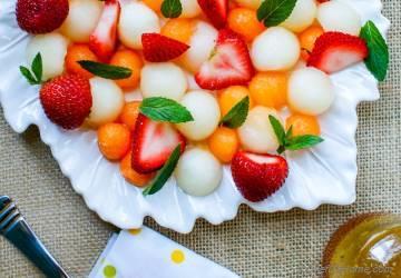 Strawberry Melon Salad with Honey-Lemon Dressing