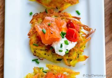 Roasted Tomato and Smoked Salmon Potato Latkes