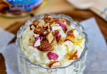 Egg-less Rice Pudding with Almonds