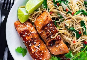 Teriyaki Salmon Soba Noodles Bowl