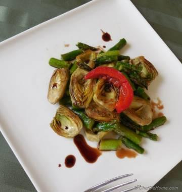 Sauteed Baby Artichokes Salad with Balsamic Vinaigrette
