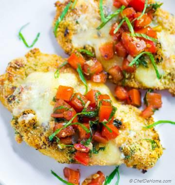 Almond Crusted Baked Bruschetta Chicken