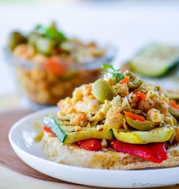 Grilled Vegetables and Smashed Chickpeas Sandwich