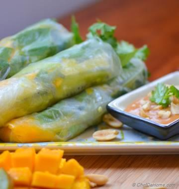 Mango and Kiwi Fresh Rolls