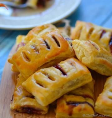 Petite Pastry Bites with Blueberry and Homemade Sour Grapes Preserve