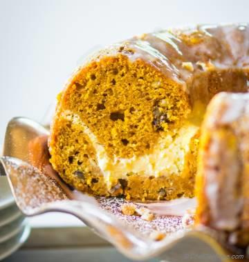 Pumpkin Bundt Cake with Cheesecake Swirl