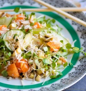 Roasted Corn and Kale Sprouts Rice Salad with Kimchi Dressing