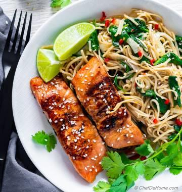 Teriyaki Salmon Soba Noodles Bowl