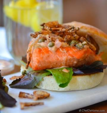 Salmon Burgers with Lemon-Caper Wine Sauce