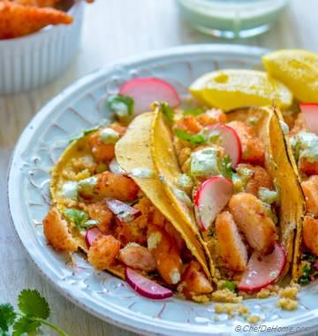Cauliflower Rice Shrimp Tacos with Jalapeno Cream Sauce