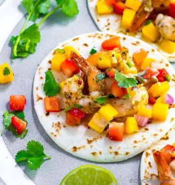 Garlic Shrimp Tacos with Mango Salsa