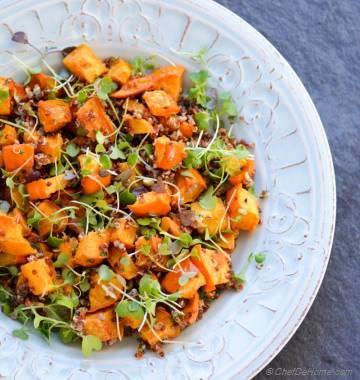 Roasted Acorn Squash, Microgreens and Quinoa Salad