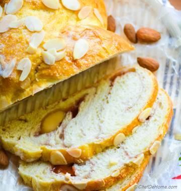 Strawberry Jam Swirl Breakfast Bread with Marzipan