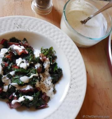 Warm Swiss Chard Salad with Peppery Dressing