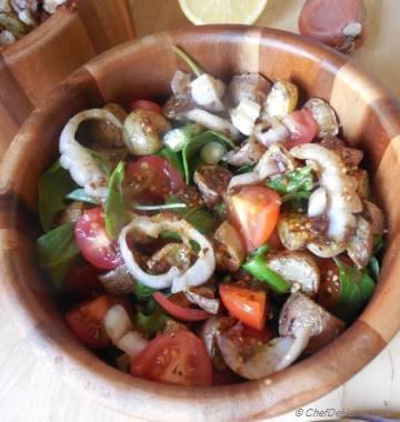 Roasted Thyme Potatoes and Arugula Salad with Black Garlic-Mustard Vinaigrette