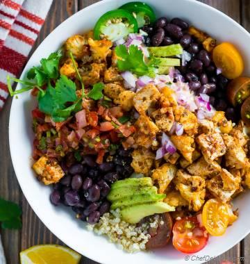 Roasted Cauliflower Chipotle Tofu Veggie Bowl