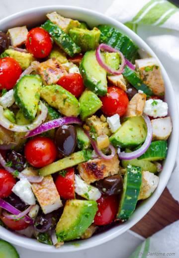 Greek Chicken Cucumber Avocado Salad
