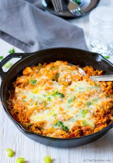 One Pot Buffalo Chicken and Rice Casserole