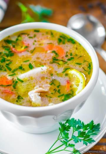 Lemon Chicken Rice Soup in Pressure Cooker