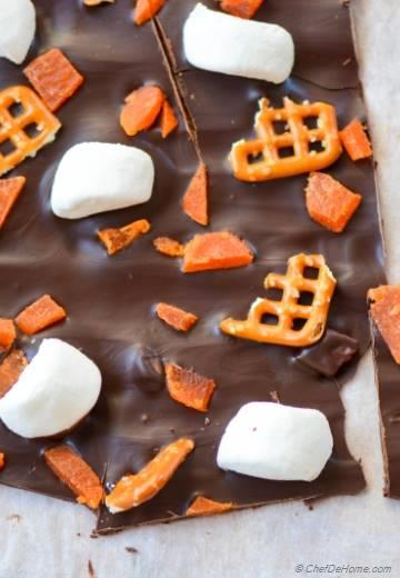 Dark-Chocolate Candy Bark with Marshmallow and Pretzels for Trick-or-Treat