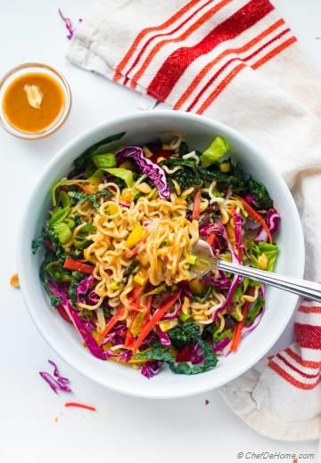 Ramen Noodle Salad with Miso Peanut Dressing