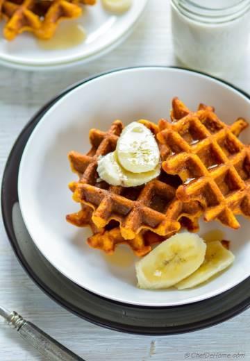 Healthy Sweet Potato Oats Waffles