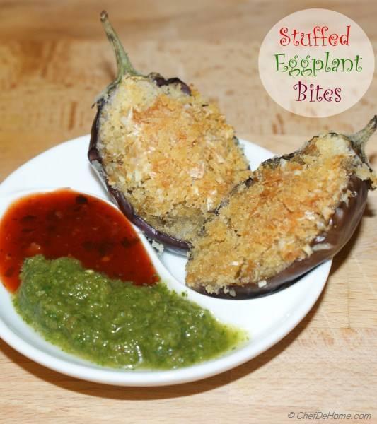 Stuffed Baby Eggplant Bites