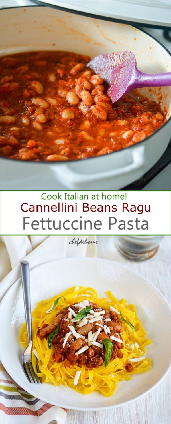 Vegetarian Cannellini Beans Ragu Pasta for Family Italian Dinner at home | chefdehome.com