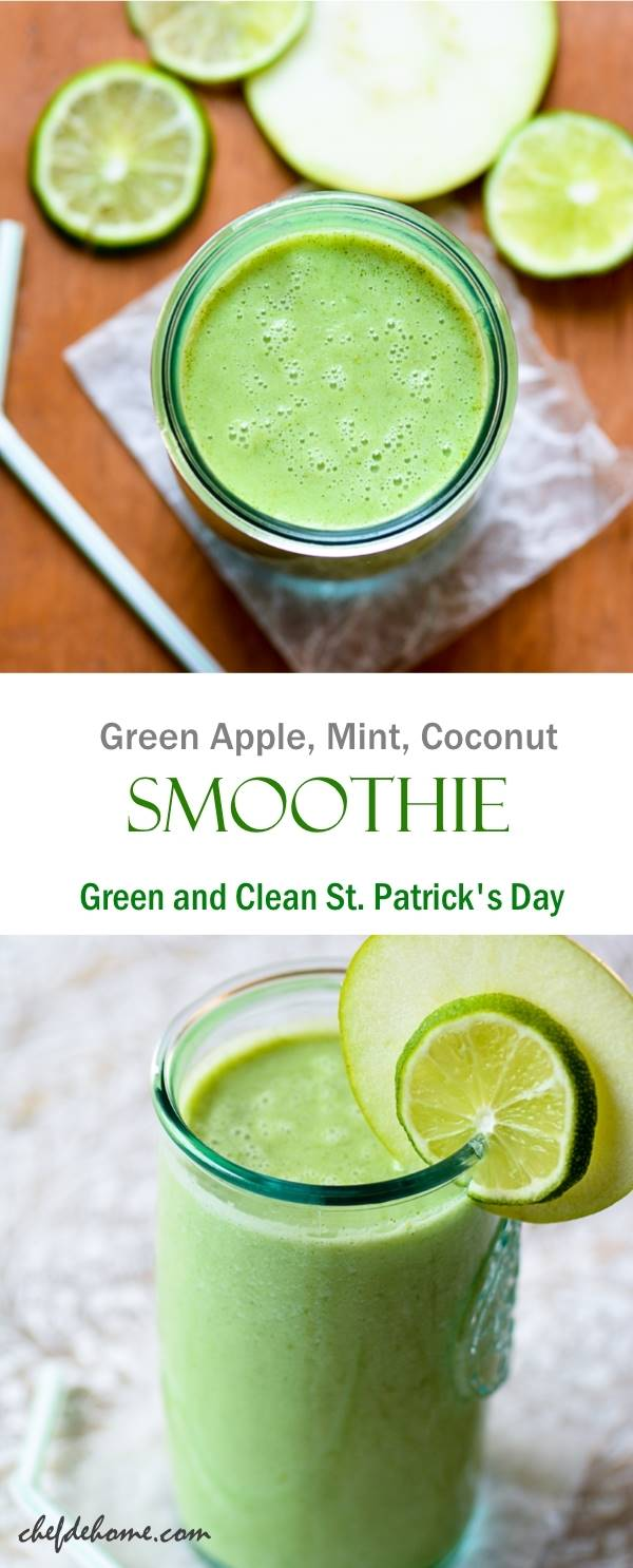 Green and Clean St Patrick Day Smoothie with green apple coconut and mint