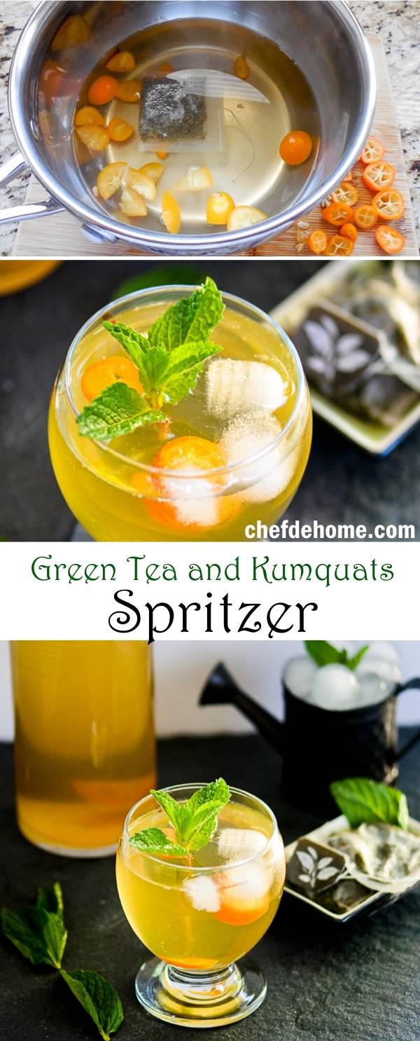 Sweet green tea and kumquats spritzer recipe for White wine based cocktails