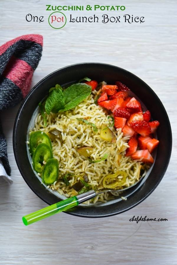 One Pot Lunchbox Rice with Zucchini and Potato
