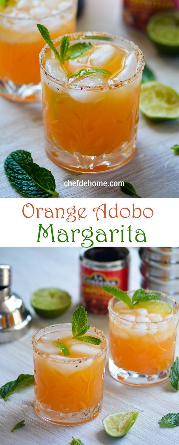Margarita - Refreshing Orange with Heat of Chipotle in Adobo for Tex-Mex party | chefdehome.com