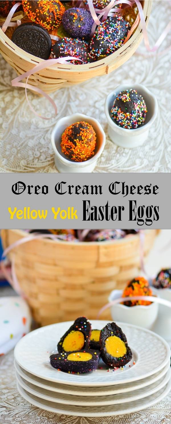 Oreo Cream Cheese Easter Eggs with Yellow Yolk - Perfect for Easter Hunt and some Fun Sweet Treat for Kids