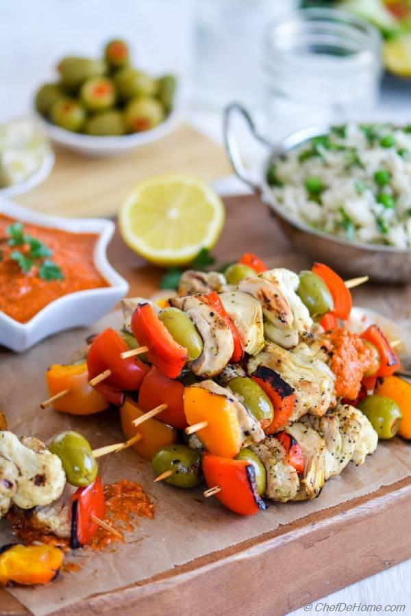 Easy and Delicious Grilled Chicken Kabobs Dinner with Garlicky Romesco Sauce | chefdehome.com