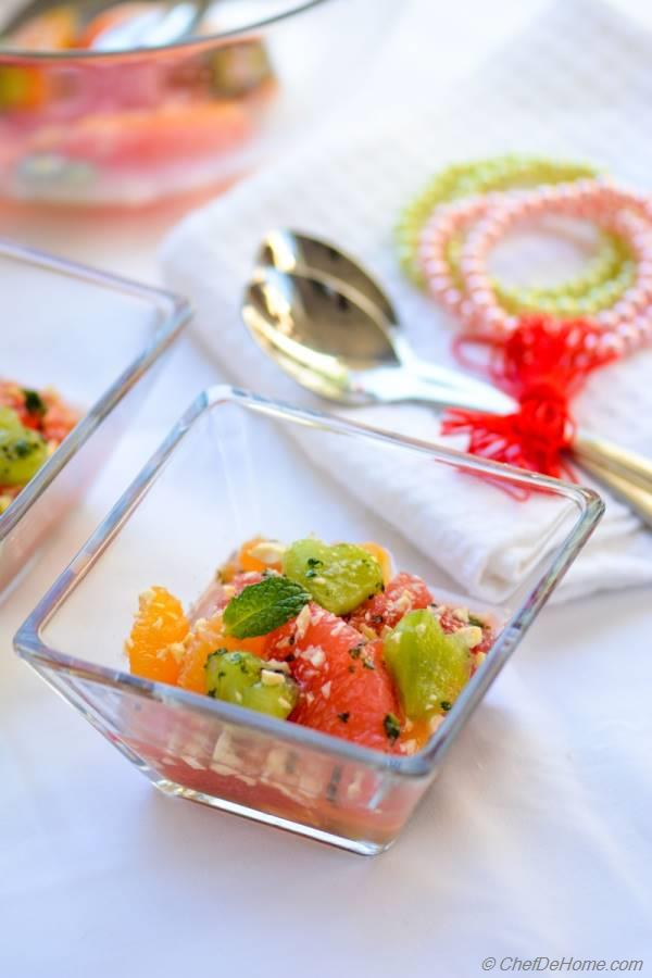 Citrus Salad with Minted Sugar and Pistachios Sweet Treat for Valentine Day