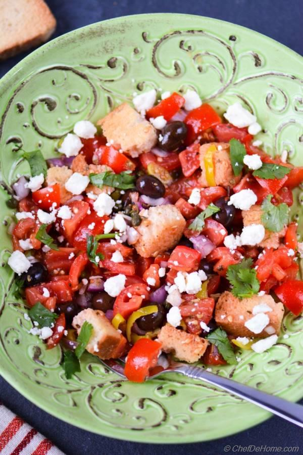 Greek Dakos Salad with Tomatoes Rusks and Feta Cheese
