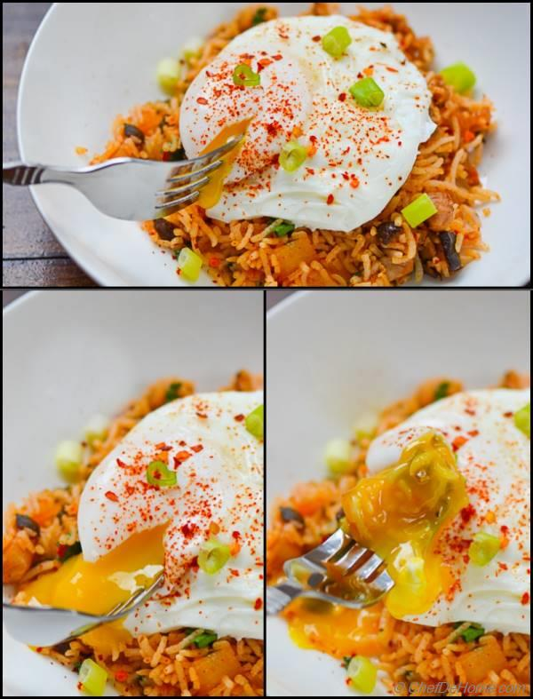 Spicy Kimchi Fried Rice with Poached Egg Recipe ...