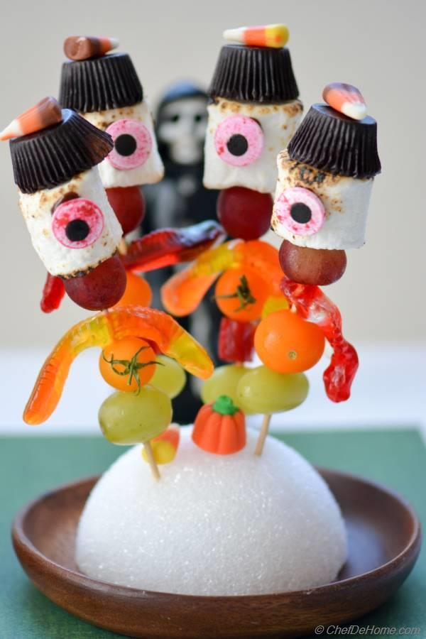 Marshmallow Candy Kabobs. Creepy yet fun!