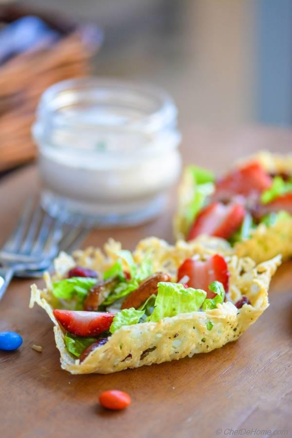 Valentines Day Brunch Salad in Heart-Shape Parmesan Cups
