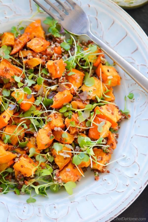 Roasted Acorn Squash and Micro greens Salad