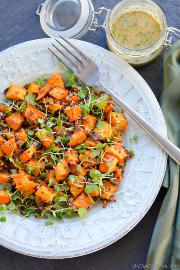 Healthy Vegan yet Creamy Roasted Acorn Squash Salad with Tahini Dressing