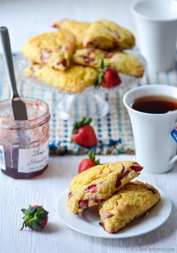 Breakfast with Fresh Baked Strawberry Scones and Tea