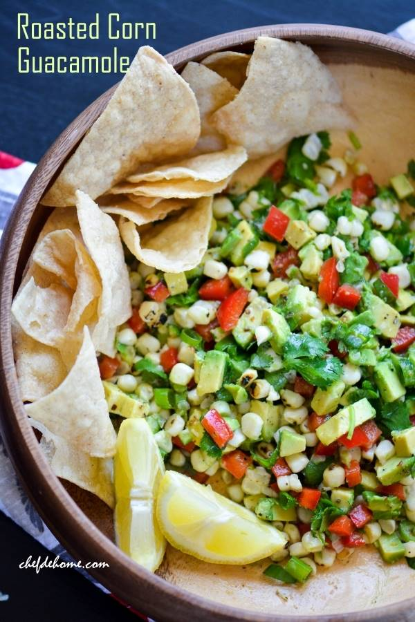 Zesty Roasted Corn Guacamole Recipe | ChefDeHome.com