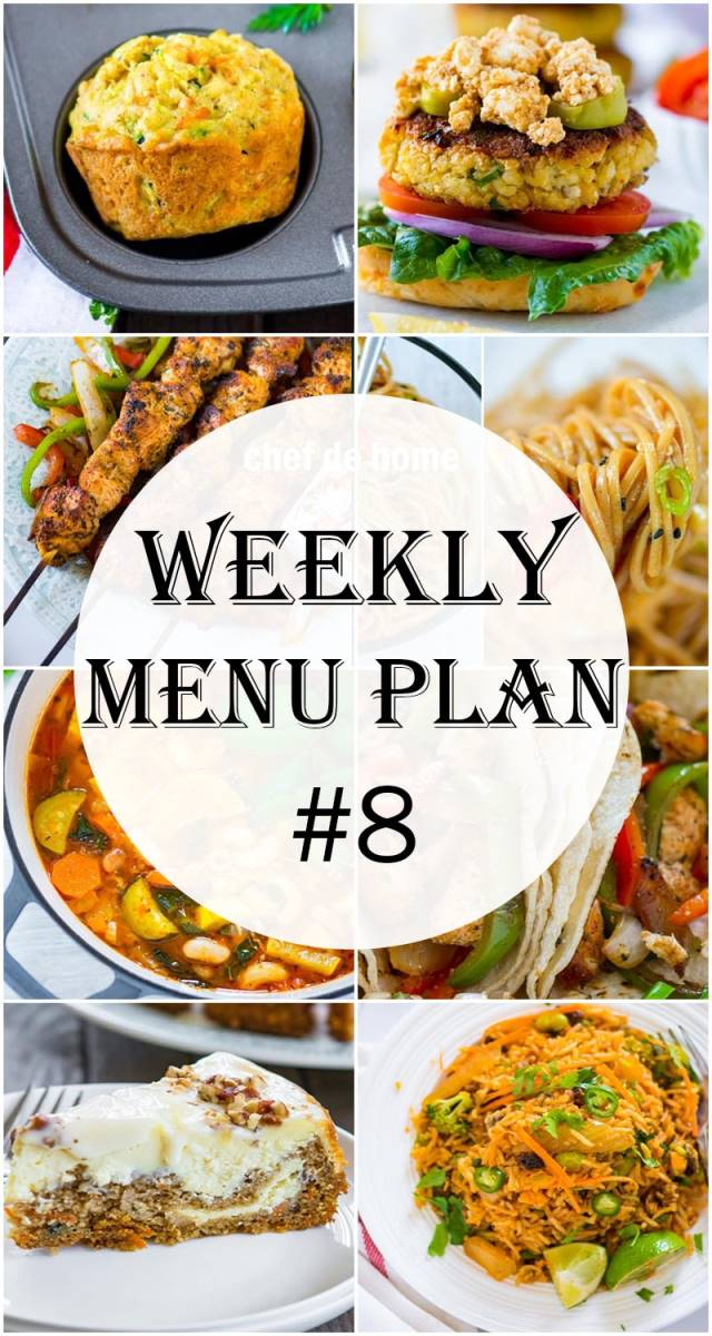 Weekly Meal Menu Plan - 8 Meals | ChefDeHome.com