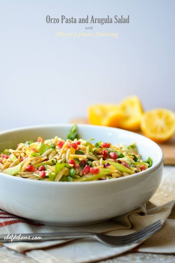 ... pasta and wild arugula salad dressed in a simple meyer lemon dressing
