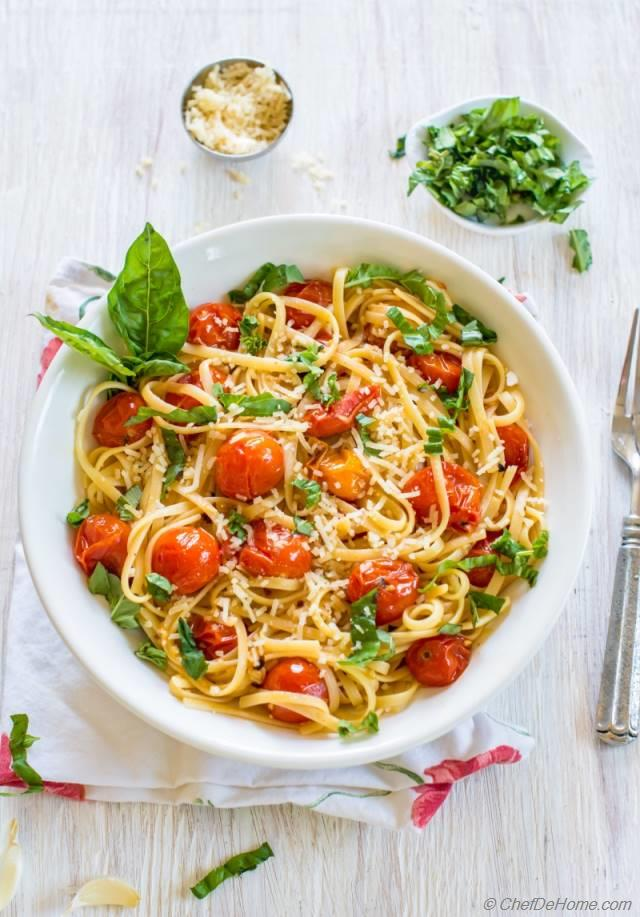 Pasta with Roasted Garlic and Burst Cherry Tomato Sauce Recipe ...